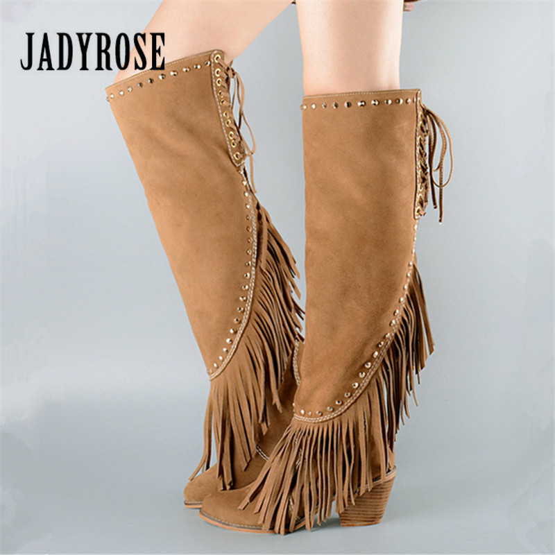 Jady Rose Fashion Fringed Women Over The Knee Boots Pointed Toe Rivets Female Thigh High Boots Designer Lace Up High Heel Botas jialuowei women sexy fashion shoes lace up knee high thin high heel platform thigh high boots pointed stiletto zip leather boots