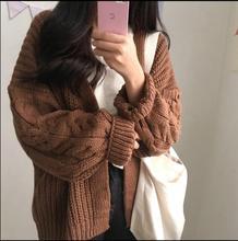 2017 осенние и зимние женские новый корейский вариант ретро свободно длинными рукавами твист вязаный толстый свитер кардиган