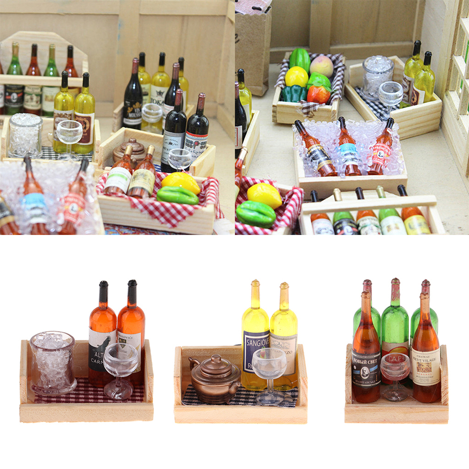 1:12 Drink Wine Bottles Wooden Rack Magnet Cocktail Cups Table Accessories DIY