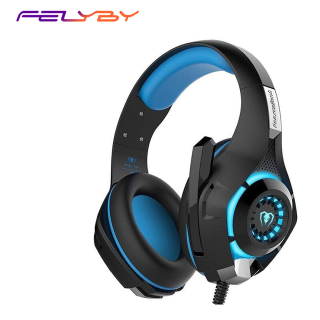 FELYBY New 3.5mm+USB Wired Gaming Headset  PC Headset LED Light Noise Cancelling Headphones With Microphone headphones for phone
