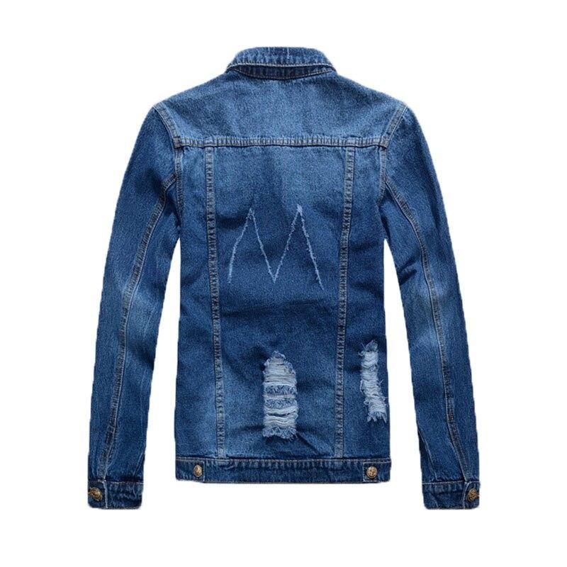 poches Trou Déchiré Avec Shifuren Sur Blue Cowboy Bouton Rabat Mens Bleu Jeans Poitrine Classique La Moto Survêtement Denim À Veste 0mNwv8n