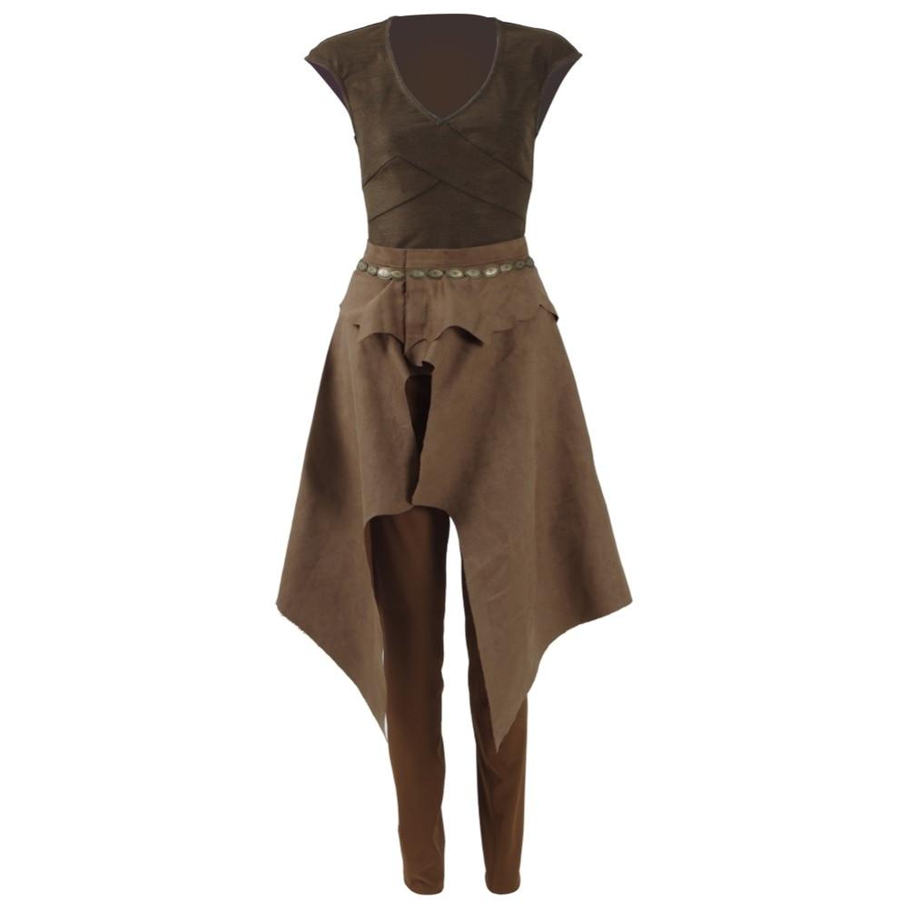 Daenerys Targaryen Cosplay Costume Daily Wear T-shirt pants waist hanging Brown Sets