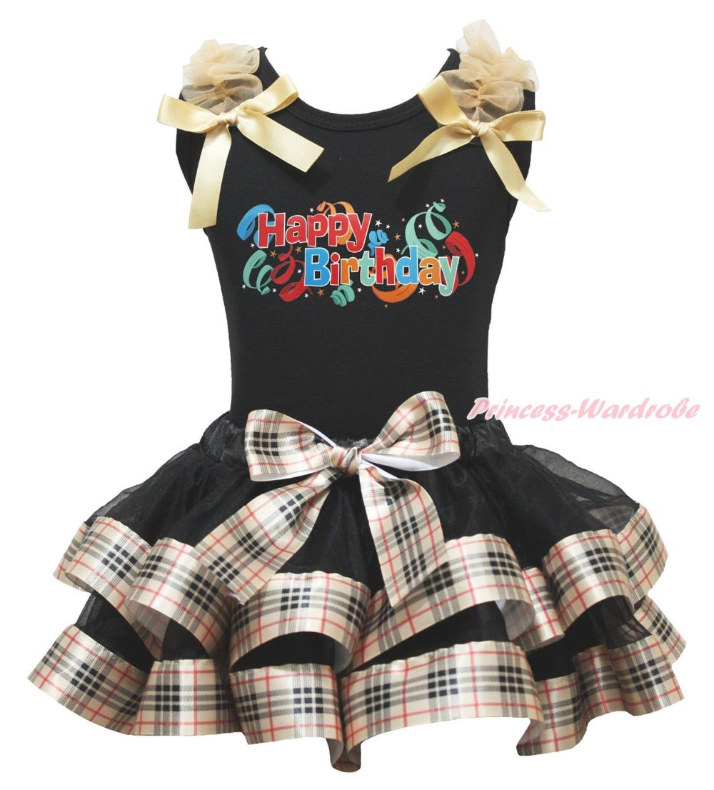 ФОТО Happy Birthday Paint Black Top Check Plaid Satin Trim Skirt Girl Outfit NB-8Year MAPSA0880