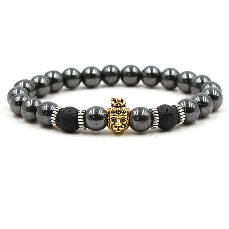 HOBBORN Trendy Black Magnetic Hematite Bracelet Women Men Owl Head Buddha Skull Leopard Spartan Helmet Bead Bracelets Jewelry in Charm Bracelets from Jewelry Accessories