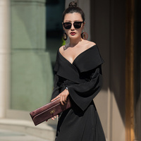 VERRAGEE 2018 new women autumn sexy club solid color black formal party maxi vintage long v neck dress