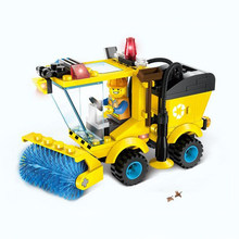 Sweeper Car City Series Construction Road Roller Forklift Truck Tractor Truck Building Blocks Kids Educational Life Skills Toys(China)