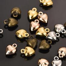 20 штук, цинковый сплав, розовое золото, серебро, любовь, подвески-шармы в форме сердца, сделай сам, для ювелирных аксессуаров, серьги ручной работы, браслеты, ожерелье
