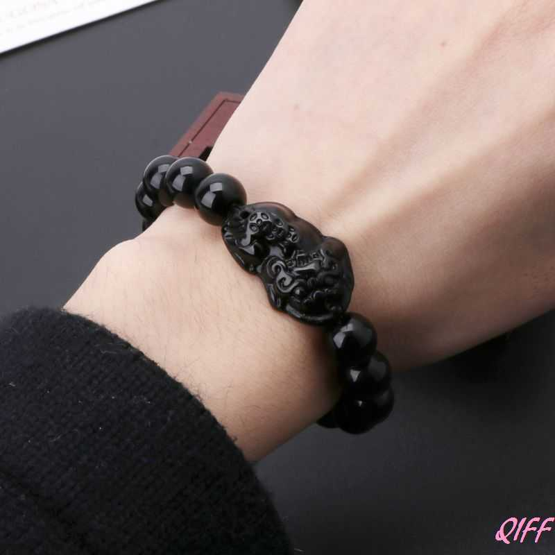 Feng Shui Obsidian Stone Wealth Pi Xiu Bracelet Attract Wealth and Good Luck