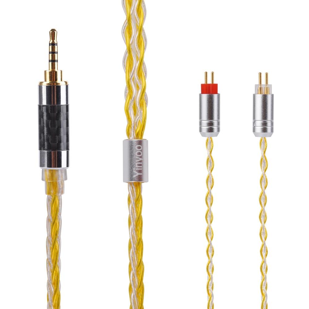 Yinyoo MMCX/2Pin Connecteur 3.5/2.5/4.4mm Équilibrée 8-Core Argent-Plaqué Câble ZS10 /ZS6/ES4 LZ A5 A4 A3 MaGaosi K5 Dédié