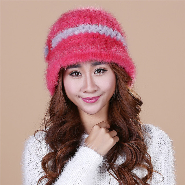 Cheap Lady's the new mink fur mink hat knit cap children winter thickening warm winter hat free shipping/15color.#SD17
