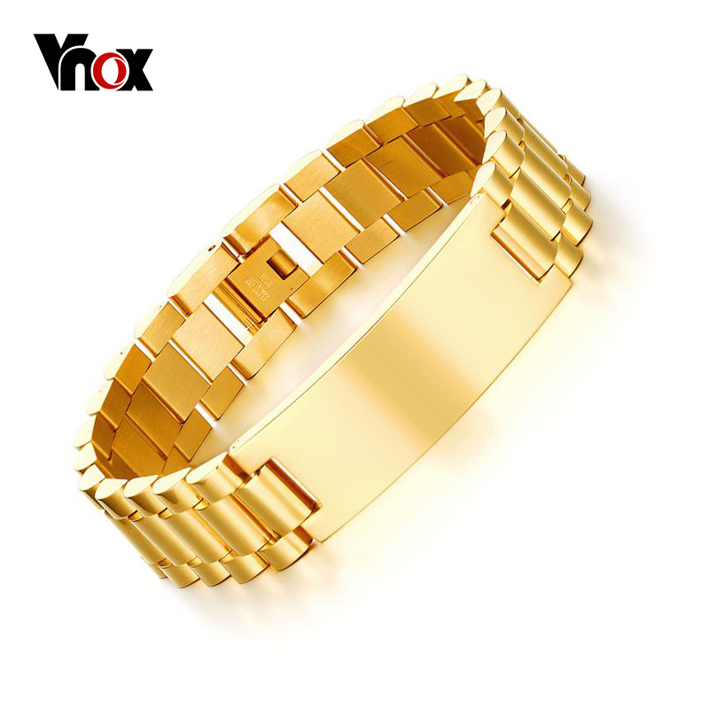 Vnox Personalized ID Men Bracelet Gold-color Stainless Steel DIY Engraving Words Chain Link Bracelet