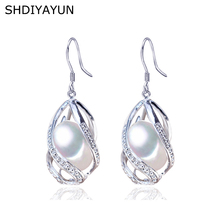 SHDIYAYUN Pearl Earrings Natural Freshwater 925 Sterling Silver Jewelry For Women Gemstone Drop Cage Wholesale