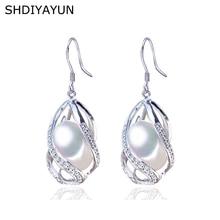 цена на SHDIYAYUN Pearl Earrings Natural Freshwater Pearl 925 Sterling Silver Jewelry For Women Gemstone Drop Earrings Cage Wholesale