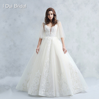 Flare Tulle Sleeve Wedding Dress Ball Gown High Quality Lace Appliqued Low Back Bridal Gown