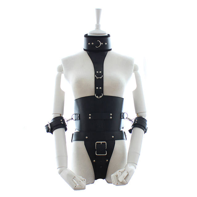 New Arrival PU Gothic Body Chastity Belt Bondage Neck Ring With Handcuffs High Waist Sex Toys Jumpsuits Sex Product VP-Cb012025A
