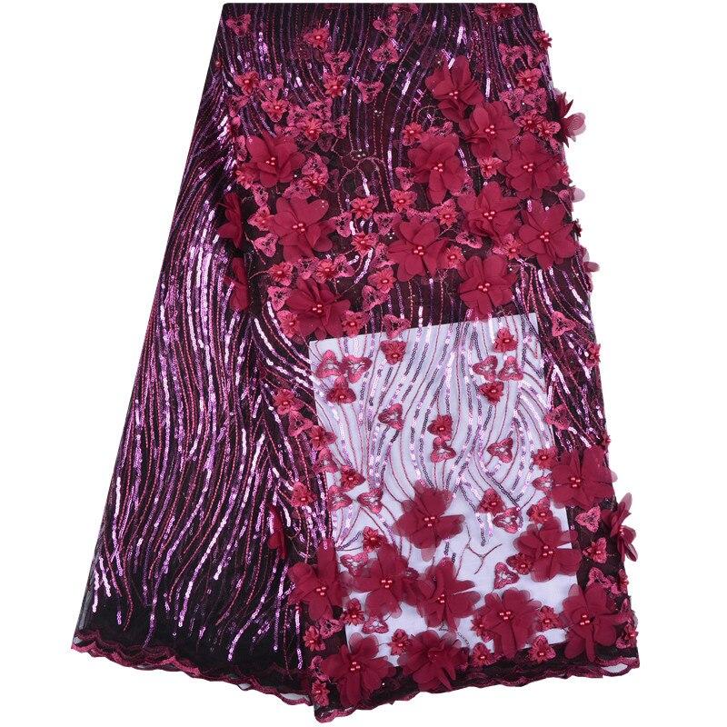 Francese Tessuto di Pizzo Rosa di Cerimonia Nuziale di Alta Qualità di Tulle Africano Tessuto di Pizzo 5 Yards/Lot 3 d Fiori Ricamato In Tulle pizzo FabricA1232-in Pizzo da Casa e giardino su  Gruppo 2