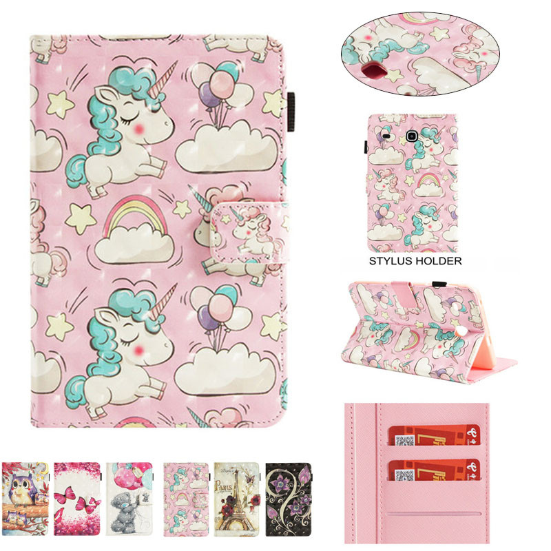 3D Cute Painting PU Leather Tablet Cover For Coque Samsung Galaxy Tab E 8.0 SM-T377 Case For Fundas Samsung Tab E 8.0 T377V T375