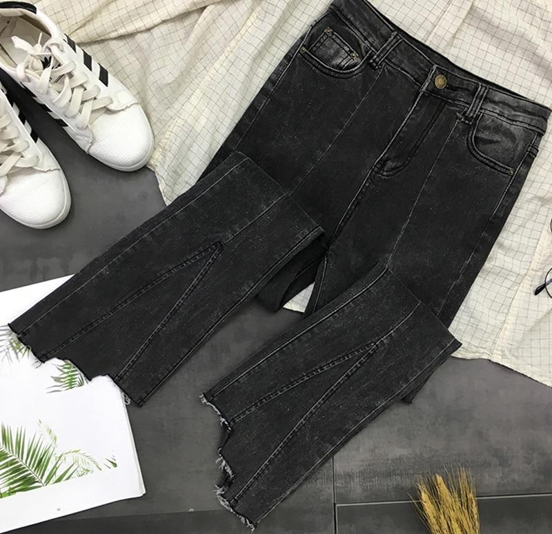 Jeans Bas Grande Zipper Doux Mode Filles Z938 Pour Taille Pantalons Cut Femmes Black Up De Noir Décontracté Irrégulière Coréenne Poches Boot PZTqx1P