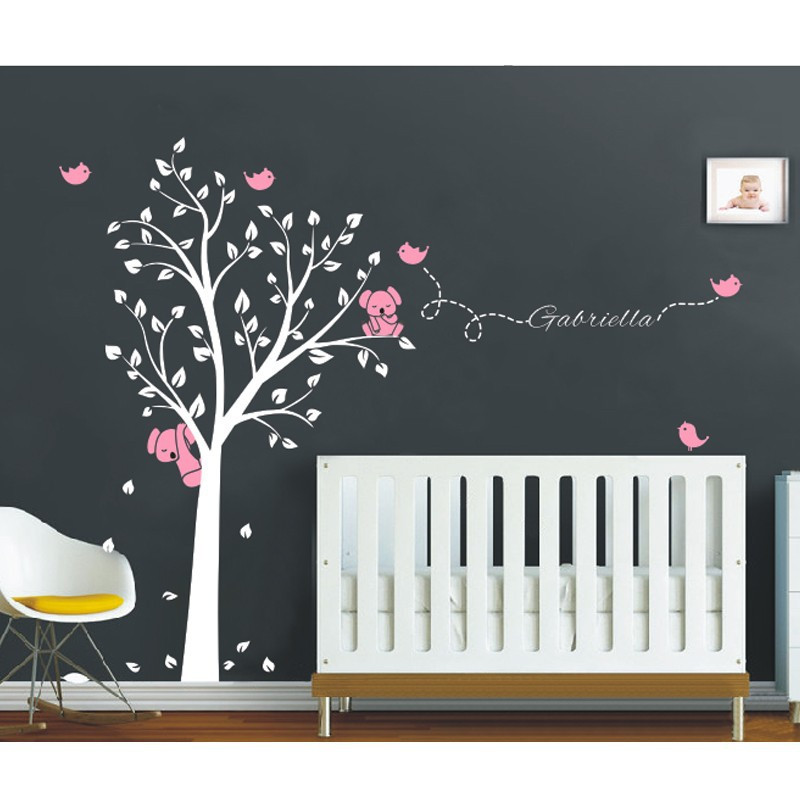 Mega 250x200cm Koala Tree Birds Wall Sticker Personalized Name Vinyl Decals for Nursery Baby Rooms Decor