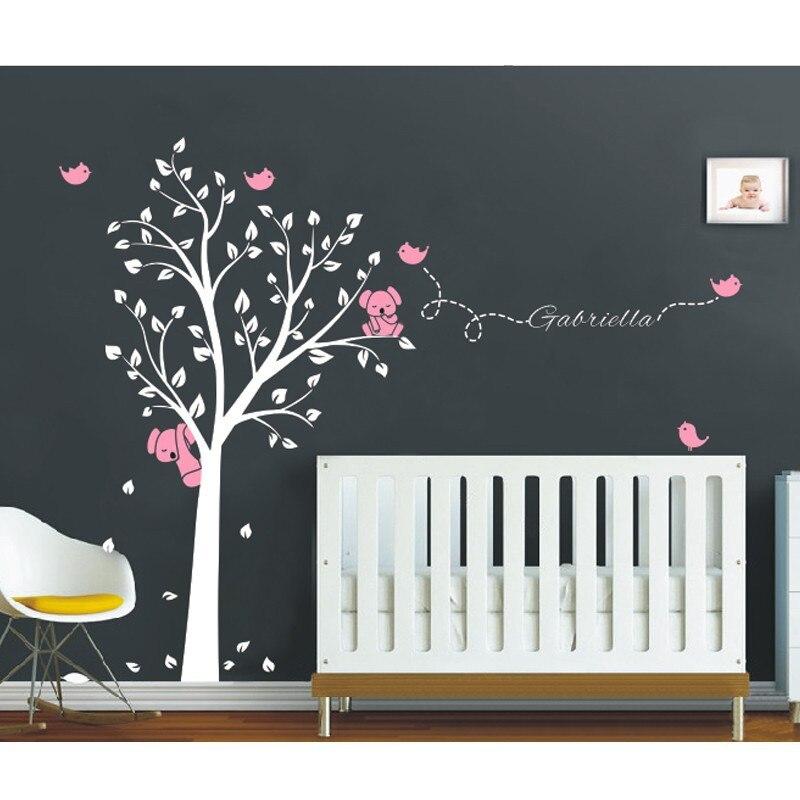 Mega 250x200 cm Koala arbre oiseaux Sticker mural nom personnalisé vinyle stickers pour pépinière bébé chambres décor décoration de la maison