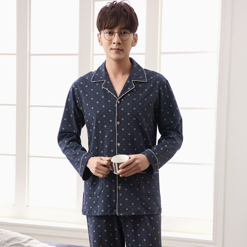 J&Q New Mens Sleepwear Cotton Notch Collar Cardigan Lapel Brand Men's Home Clothes Sleepwear Leisure Men Nightwear Pajamas Sets