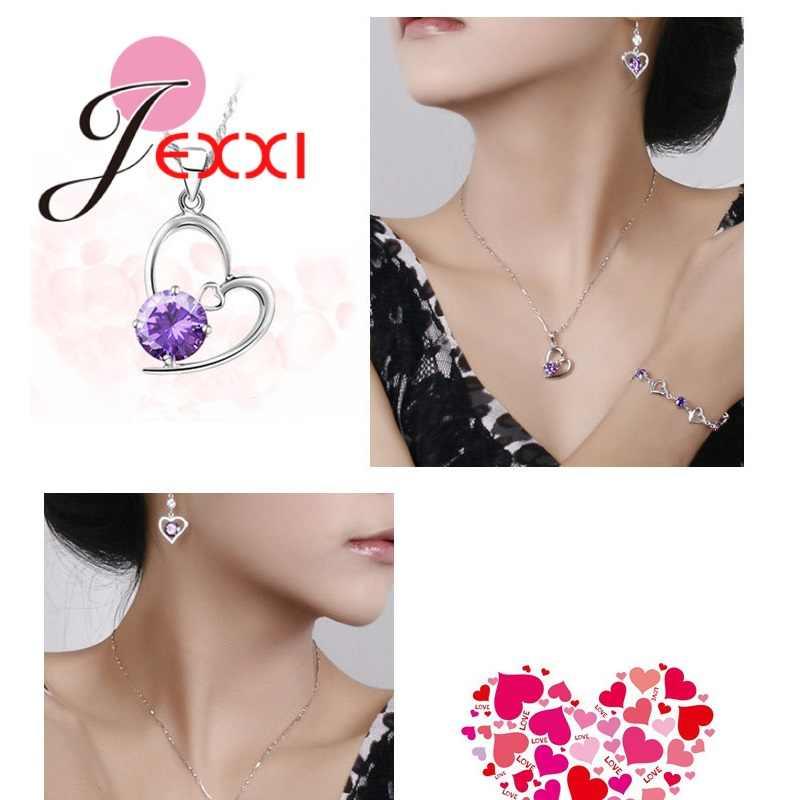 925 Sterling Silber Sharking Zirkonia Herz Form Anhänger Halskette Ohrring Sets Für Frauen Braut Hochzeit Schmuck
