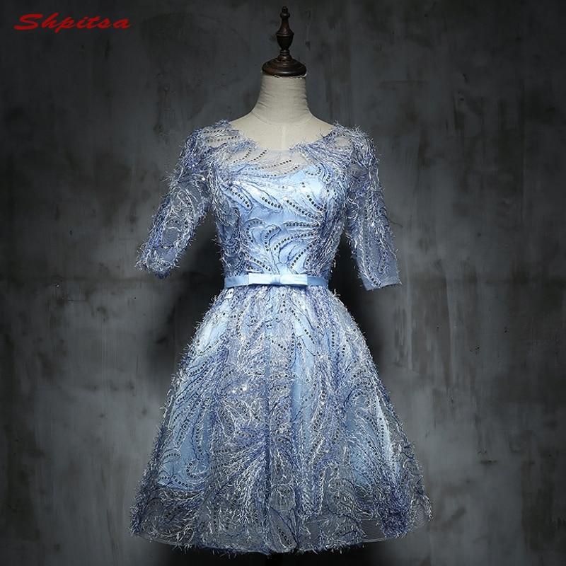 Sexy Blue Short Lace   Cocktail     Dresses   Womens Prom Coctail   Dress   for Graduation Party   Dress   jurk vestidos de coctel renda