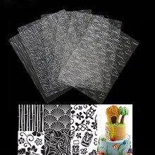 1 conjunto de molde de bolo de fondant, texturização transparente, conjunto de folha de textura, tapete de açúcar, artesanato, ferramentas de decoração