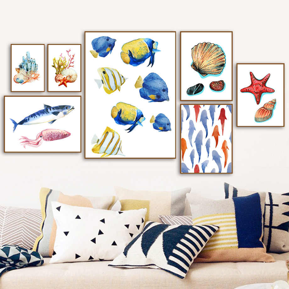 Fish Shell Starfish Coral Nordic Posters And Prints Wall Art Canvas Painting Watercolor Wall Pictures Baby Kids Room Home Decor