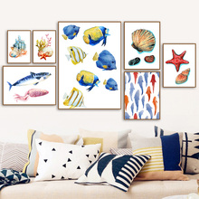 7-Space Colorful Marine Animals Canvas Painting Print Poster Nordic Wall Art Living Room Study Decor Pictures No Frame