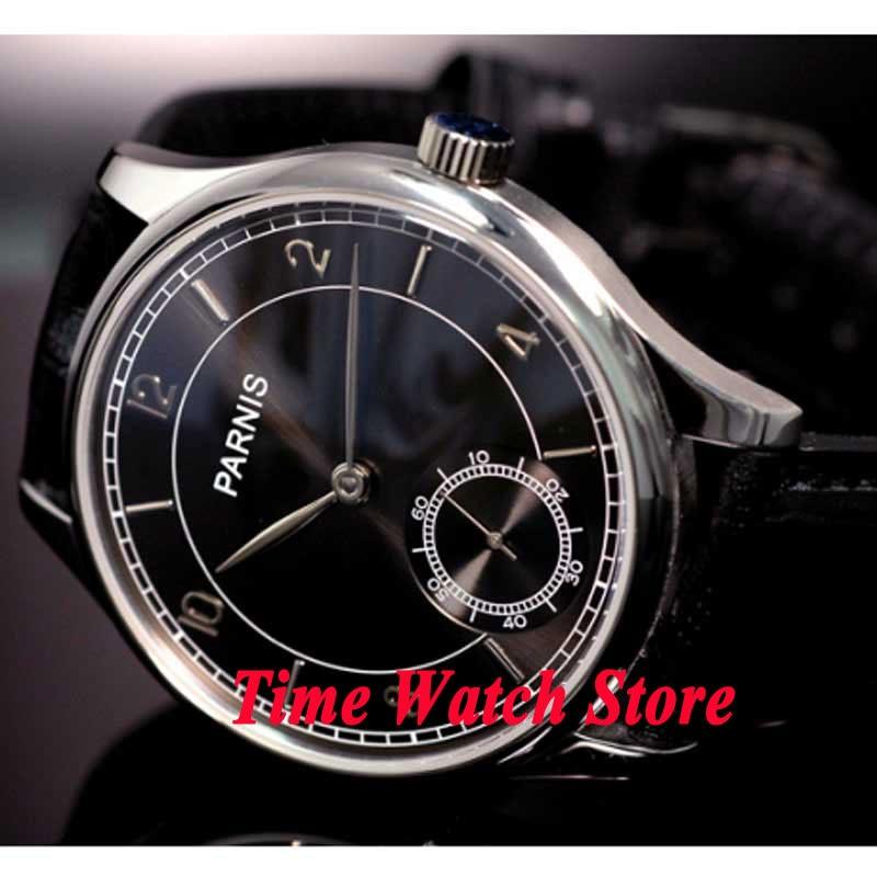 лучшая цена Parnis watch 44mm black dial silver hands 6498 mechanical hand winding movement Men's watch 31