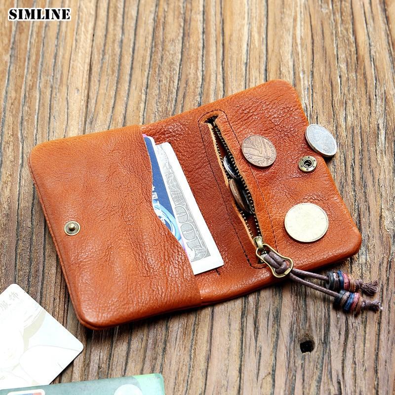 SIMLINE Genuine Leather Wallet Men Women Vintage Handmade Short Bifold Small Slim Wallets Purse Female With Zipper Coin Pocket