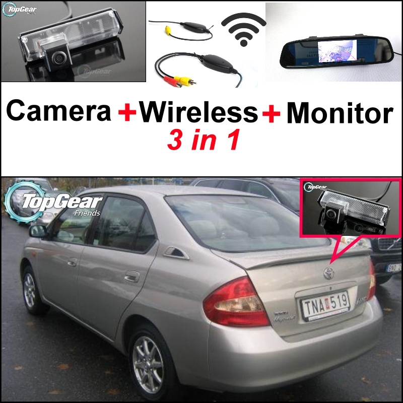 3 in1 Special Rear View Camera + Wireless Receiver + Mirror Monitor DIY Parking System For TOYOTA Prius MK1 2000~2003 wireless pager system 433 92mhz wireless restaurant table buzzer with monitor and watch receiver 3 display 42 call button