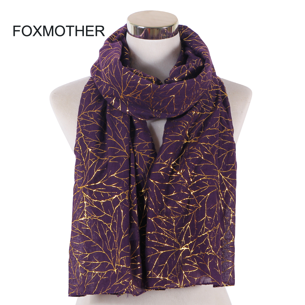 FOXMOTHER New Fashion Purple Blue Color Foil Gold Tree Branch Hijab   Wrap     Scarves   Glitter Muffler Femme Women   Scarf
