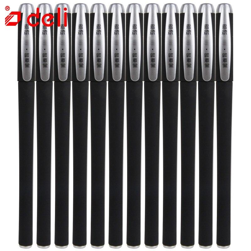 Deli 12PCS/lot Black Neutral Gel Ink Pen 0.5mm Black ink Carbon Signature Pen for School Office Supplies 2018 Student Stationery deli 12pcs black ink pen for students 0 5mm best for school