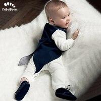 Toddler Boys Clothing Set Gentleman Suit Kids long sleeve Bow Tie cotton rompers+Tuxedo Vest Baby Boy Clothes wedding dresses