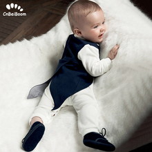 Toddler Boys Clothing Set Gentleman Suit Kids long sleeve Bow Tie cotton rompers+Tuxedo Vest Baby Boy Clothes wedding dresses цена