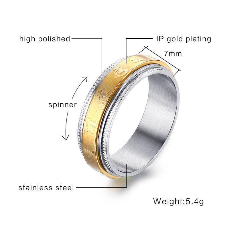 Gold Buddhism Ring for Men
