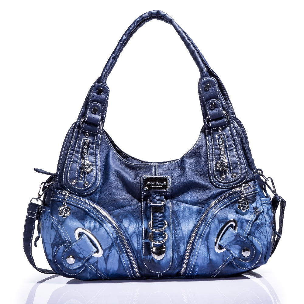 2018 Fashion Designer Tie dyed Women Washed PU Leather Shoulder Bags Large Capacity Smooth Ladies Crossbody
