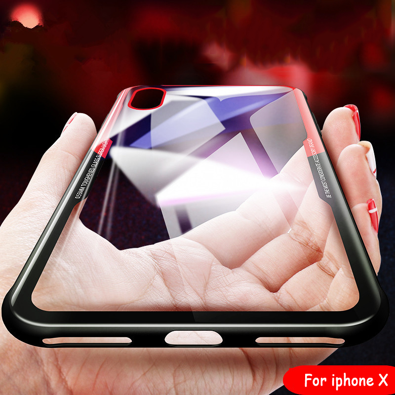 Emulate Tempered Glass Phone Case For Apple iPhone 7 8 6 6s Plus X 5 S SE Cases 0.1MM Protective Glass Cover Capinha Accessories
