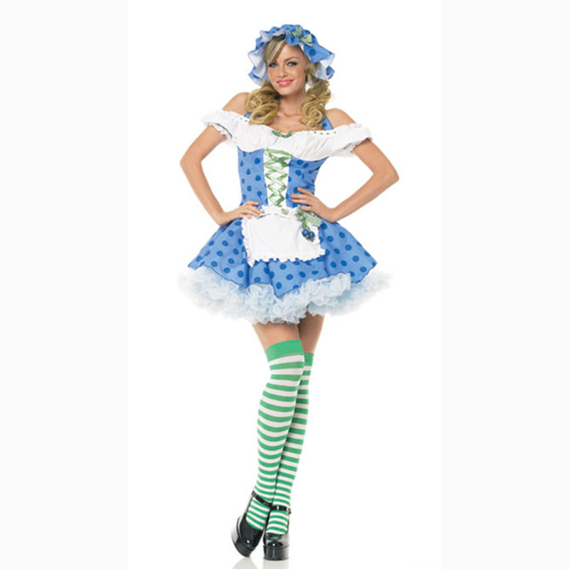 Free Shipping Hot blue Dress maid costume <font><b>sexy</b></font> beer girl cosplay <font><b>Sexy</b></font> <font><b>halloween</b></font> costume stage cosplay <font><b>2018</b></font> maid <font><b>women</b></font> costume image