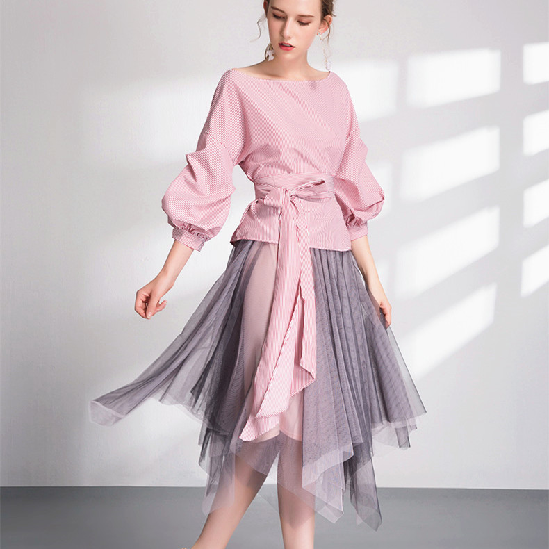 Spring Summer Women Clothing Set Slash Neck Lantern Sleeve Stripped Blouses Crop Big Bows Tops+ Nesh Irregular Skirts Suit NS316