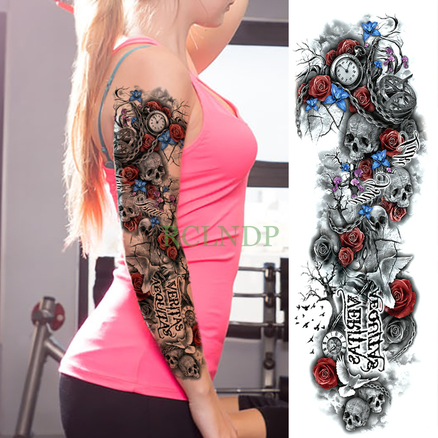 ad15f15846cbe Waterproof Temporary Tattoo Sticker Skull rose clock bird full arm large  size fake tatto flash tatoo