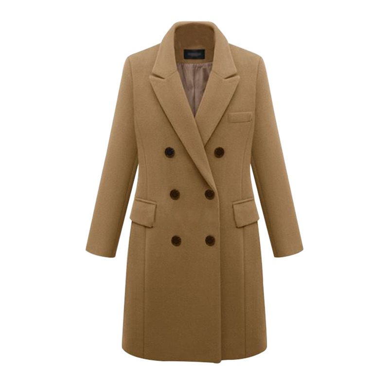 Vintage Wool Office Ladies Casual Plus Size Elegant Women Long   Trench   Coats Slim Lapel Winter Button Pocket Female Overcoats