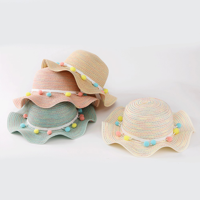 Childrens Hat New Summer Straw Hat Colored Hair Ball Sun Hat Baby Girls Outdoors Beach Hat Folded Large Brim Hat 56-58cm XL512