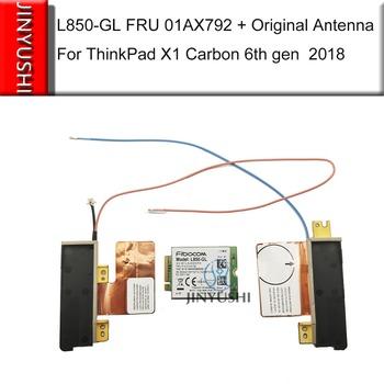 JINYUSHI Brand New!! L850-GL Fibocom FRU 01AX792 01AX786 karta WWAN + oryginalna czerwona niebieska antena do Thinkpad X1 carbon 6th 7th gen tanie i dobre opinie wireless Wewnętrzny 450M Zdjęcie Cdma Wcdma Td-scdma EDGE L850-GL FRU 01AX792+antenna M 2 NGFF