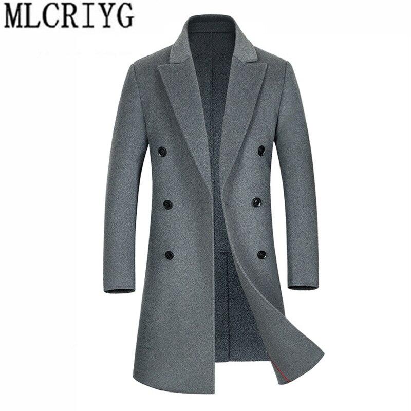 Date 2019 européen Double boutonnage manteaux homme hiver laine Trench manteau gris à manches longues mâle Overvoats Outwear abrigo hombre 234