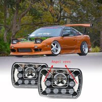 45W 7 inch Chrome Housing Square Projector PC Lens Offroad LED Headlight for 1989 Toyota Land Cruiser/1986 1993 Dodge Van