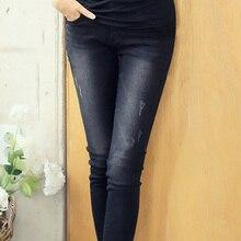Джинсы Женщина плюс Размер Повседневная высокая Талия женщины джинсы тощие Женщины джинсовые Брюки Черный Синий Бренд брюки для женщин 4XL 5XL 6XL