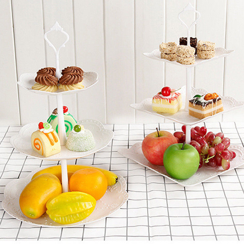 Image 3 - 2019 Cupcake Stand Square Round Wedding Birthday Cake Display Tower 3 Tier-in Storage Trays from Home & Garden